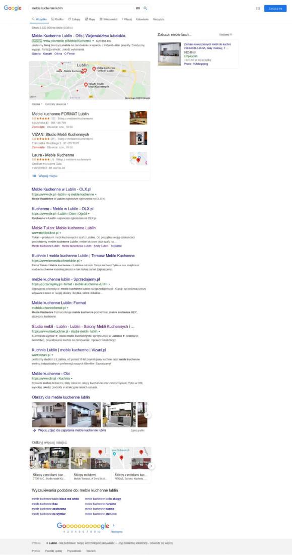 Pierwsza strona wyników w Google dla zapytania meble na-zamówienie Lublin