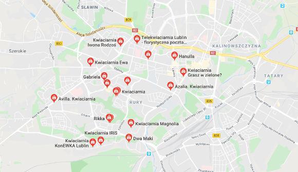 Wyniki w Mapie Google na zapytanie kwiaciarnia w Lublinie