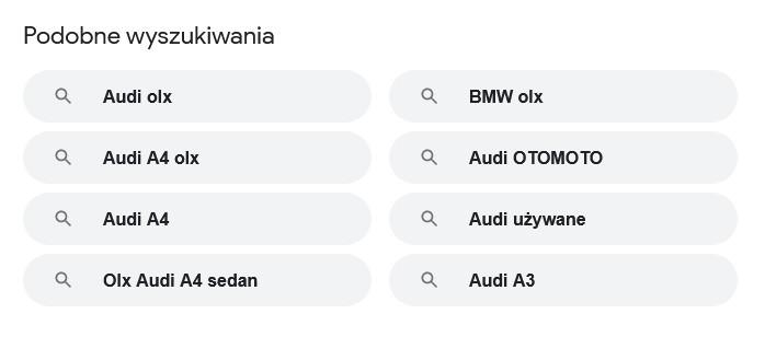 Podpowiedzi Google pod listą wyników