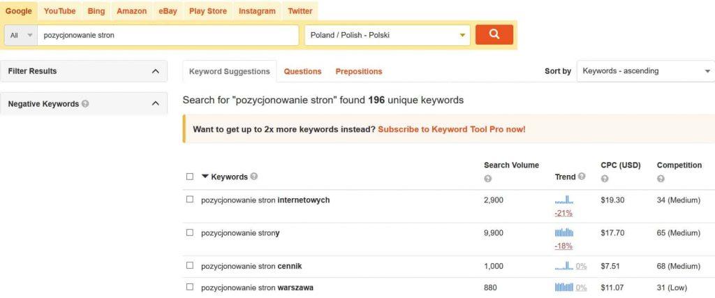 Podpowiedzi słów w KeywordTool