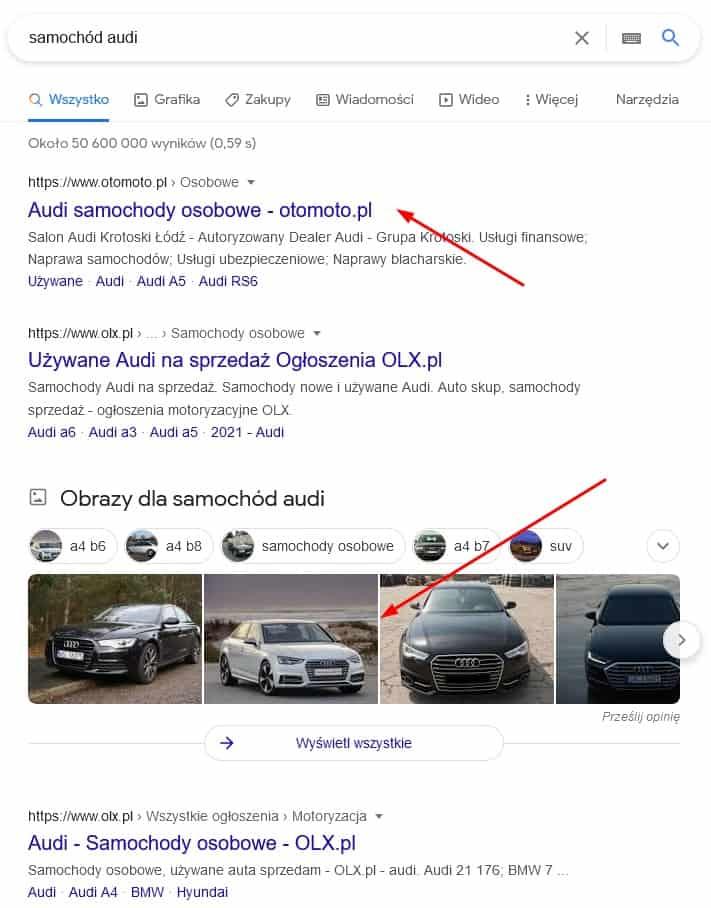 wyniki wyszukiwania na zapytanie samochód audi
